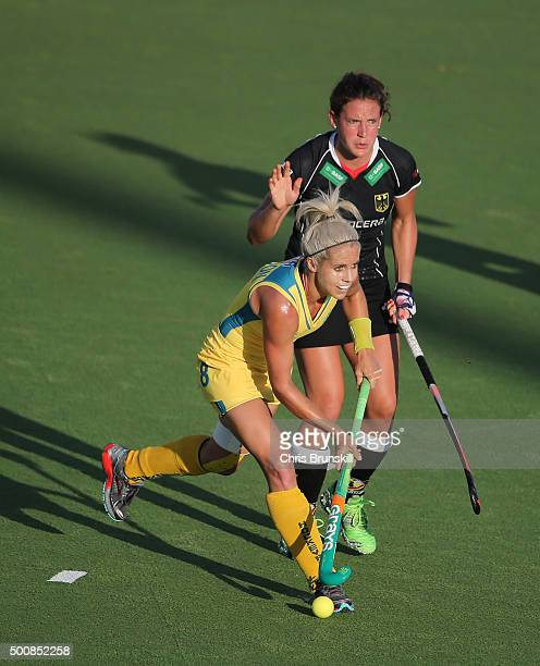 Janne MullerWieland of Germany competes with Ashleigh Nelson of Australia during the quarter final match between Australia and Germany on day 6 of...