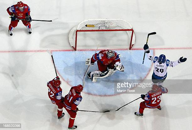 Janne Pesonen of Finland celebrates his team's 1st goal during the IIHF World Championship group H match between Russia and Finland at Hartwall...
