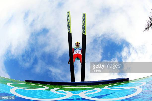 Janne Ryynaenen of Finland competes during the Nordic Combined Men's Individual NH on day 3 of the 2010 Winter Olympics at Whistler Olympic Park Ski...