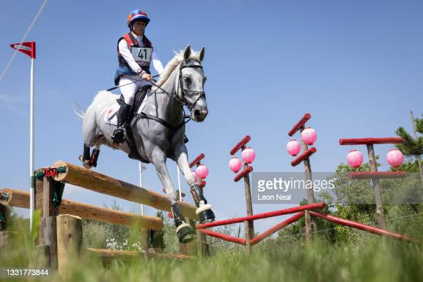 Janneke Boonzaaijer of Team Netherlands riding Champ de Tailleur clears a jump during the Eventing Cross Country Team and Individual on day nine of...