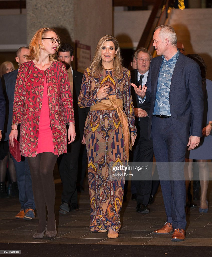 Janneke Staarink, Queen Maxima of The Netherlands wearing an Etro jumpsuit and Bero Beyer attend the opening of the Rotterdam International Film Festival on January 27, 2016 in Rotterdam, Netherlands.