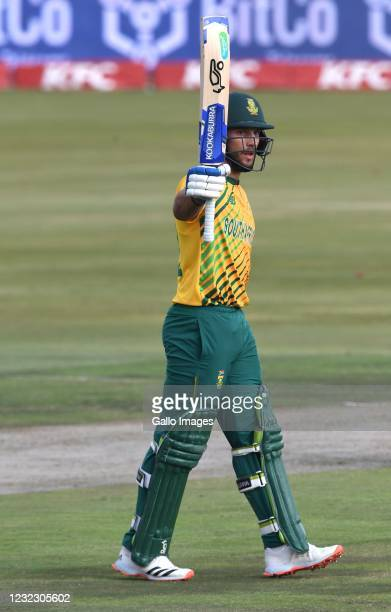 Janneman Malan of the Proteas goes to his 50 during the 3rd KFC T20 International match between South Africa and Pakistan at SuperSport Park on April...