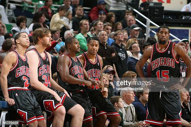 Jannero Pargo Aaron Gray Lindsey Hunter James Johnson and John Salmons of the Chicago Bulls take a break from the action during the game against the...