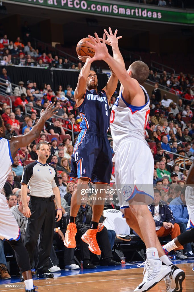 Jannero Pargo #5 of the Charlotte Bobcats takes a shot against the Philadelphia 76ers at the Wells Fargo Center on March 30, 2013 in Philadelphia, Pennsylvania.