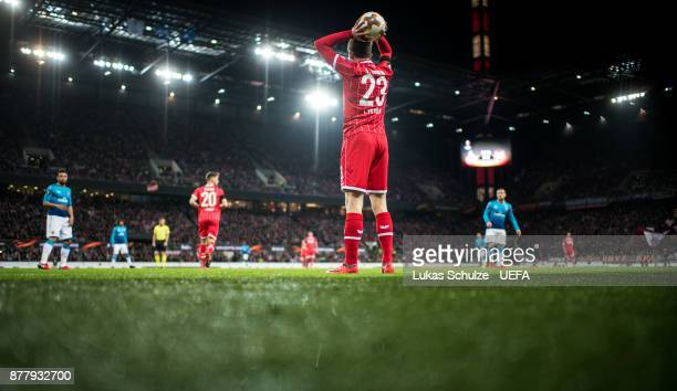 Jannes Horn of Koeln prepares a throwin during the UEFA Europa League group H match between 1 FC Koeln and Arsenal FC at RheinEnergieStadion on...