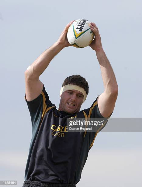 Jannes Labuschagne of the South African Rugby Union team in action during training at Brisbane Grammar School in Brisbane Australia on July 23 2002...
