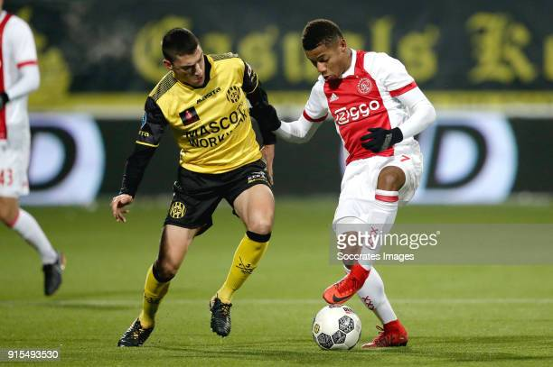 Jannes Vansteenkiste of Roda JC David Neres of Ajax during the Dutch Eredivisie match between Roda JC v Ajax at the Parkstad Limburg Stadium on...