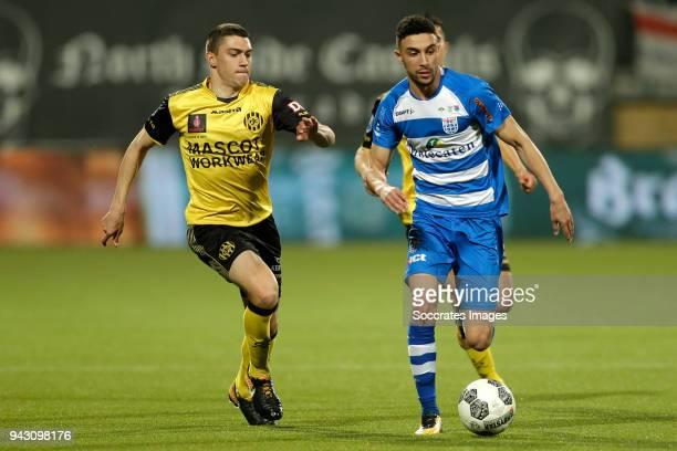 Jannes Vansteenkiste of Roda JC Younes Namli of PEC Zwolle during the Dutch Eredivisie match between Roda JC v PEC Zwolle at the Parkstad Limburg...