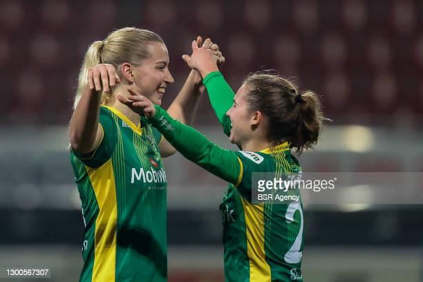 Jannette van Belen of ADO Den Haag, Anne Sellies of ADO Den Haag celebrating after the match during the Womens TOTO KNVB Beker match between...