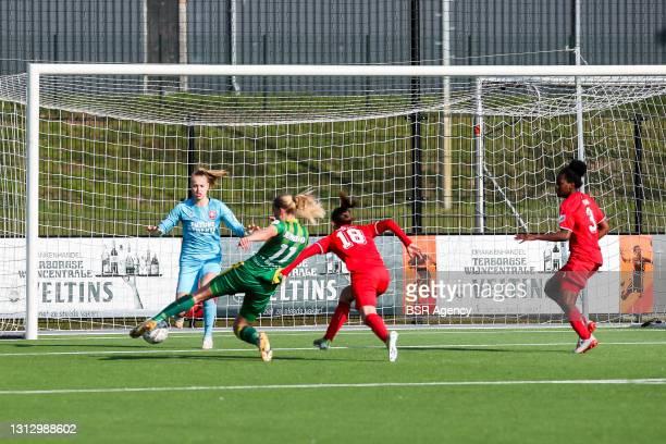 Jannette van Belen of ADO Den Haag scores the 1-1 during the KNVB beker match between FC Twente and ADO Den Haag at Sportcampus Diekman on April 17,...