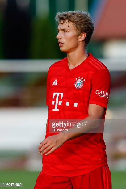 Jann-Fiete Arp of FC Bayern Muenchen looks on during the pre-season friendly match between FC Rottach-Egern and FC Bayern Muenchen on August 08, 2019...