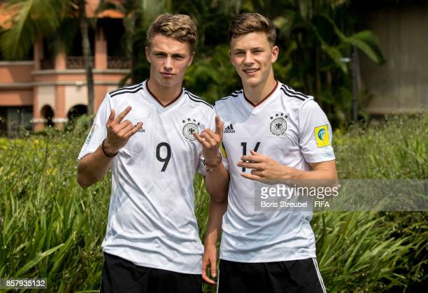 JannFiete Arp of Germany and Yannik Keitel of Germany pose ahead of the FIFA U17 World Cup India 2017 tournament at Park Hyatt Goa Resort on October...