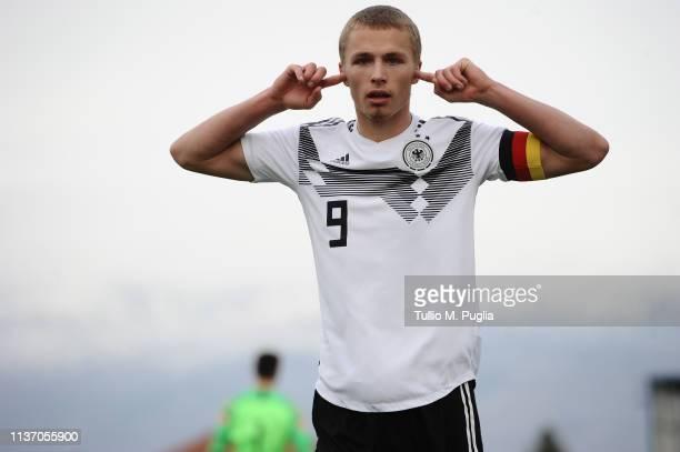 Jann-Fiete Arp of Germany celebrates after scoring the opening goal during the UEFA Elite Round match between Croatia U19 and Germany U19 at Gradski...