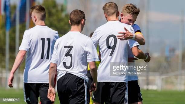 JannFiete Arp of Germany celebrates his goal with his teammates during the UEFA U17 elite round match between Germany and Armenia on March 23 2017 in...