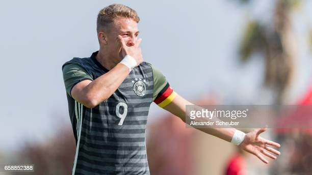 JannFiete Arp of Germany celebrates the first goal for his team during the UEFA U17 elite round match between Germany and Turkey on March 28 2017 in...