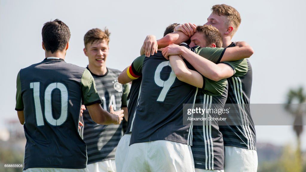 Jann-Fiete Arp of Germany celebrates the first goal for his team with his teammates during the UEFA U17 elite round match between Germany and Turkey on March 28, 2017 in Manavgat, Turkey.
