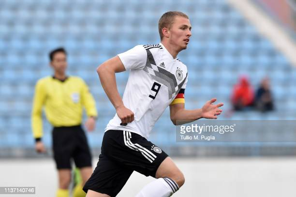 Jann-Fiete Arp of Germany in action during the UEFA Elite Round match between Croatia U19 and Germany U19 at Gradski stadion on March 20, 2019 in...