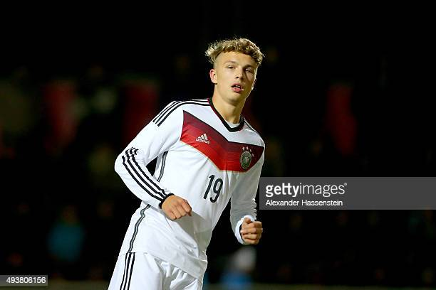 JannFiete Arp of Germany looks on during the U16 international friendly match between Austria and Germany at Buergerausee stadium on October 22 2015...