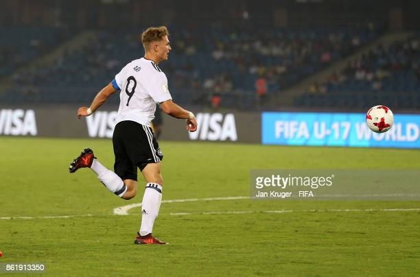 JannFiete Arp of Germany scores his sides 4th goal during the FIFA U17 World Cup India 2017 Round of 16 match between Colombia and Germany at...