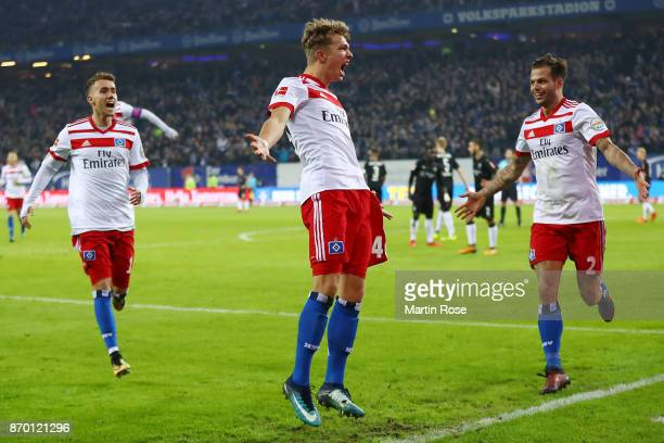 JannFiete Arp of Hamburg celebrates after he scored a goal to make it 31 during the Bundesliga match between Hamburger SV and VfB Stuttgart at...