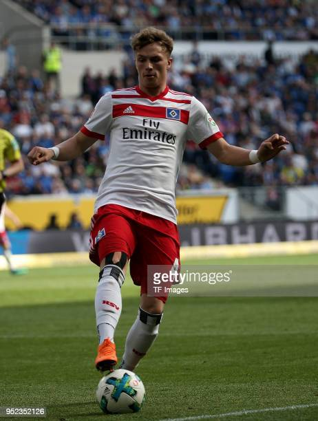 JannFiete Arp of Hamburg controls the ball during the Bundesliga match between TSG 1899 Hoffenheim and Hamburger SV at Wirsol RheinNeckarArena on...