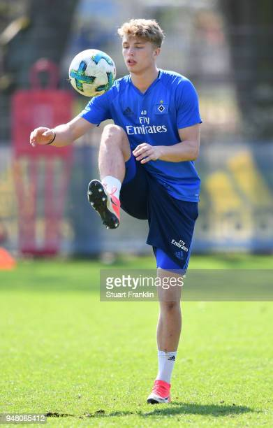JannFiete Arp of Hamburg in action during a training session of Hamburger SV at Volksparkstadion on April 18 2018 in Hamburg Germany