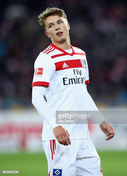 JannFiete Arp of Hamburg reacts during the Bundesliga match between SportClub Freiburg and Hamburger SV at SchwarzwaldStadion on December 1 2017 in...