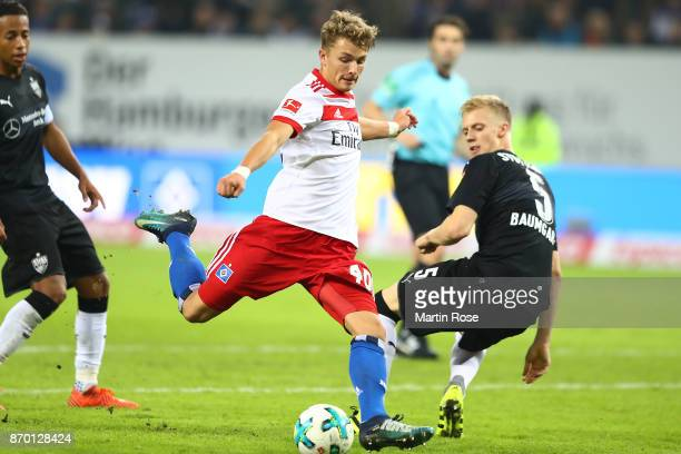 JannFiete Arp of Hamburg scores a goal to make it 31 during the Bundesliga match between Hamburger SV and VfB Stuttgart at Volksparkstadion on...