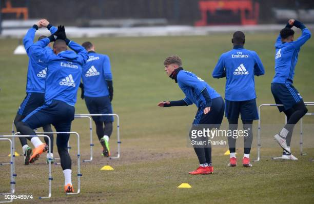 JannFiete Arp of Hamburg warms up during a training session of Hamburger SV at Volksparkstadion on March 7 2018 in Hamburg Germany