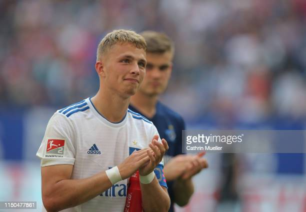 JannFiete Arp of Hamburger SV emotional after the Second Bundesliga match between Hamburger SV and MSV Duisburg at Volksparkstadion on May 19 2019 in...