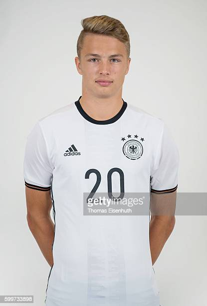 JannFiete Arp of the Germany national U17 team poses during the team presentation on September 6 2016 in Jena Germany