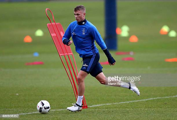 JannFiete Arp runs with the ball during a training session of Hamburger SV at Volksparkstadion on January 4 2017 in Hamburg Germany