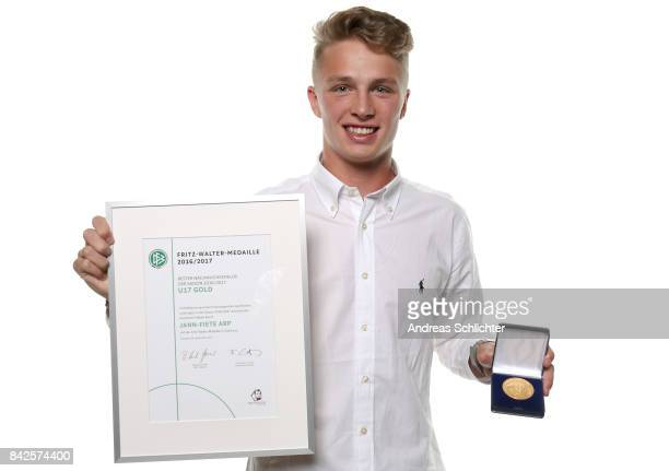 JannFiete Arp Winner of Gold U17 FritzWalterMedaille during the FritzWalterMedaille Awarding Ceremony on September 4 2017 in Stuttgart Germany