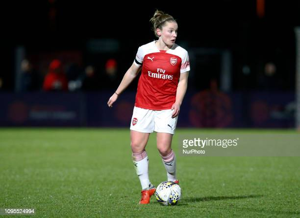 Janni Arnth of Arsenal during FA Continental Tyres Cup SemiFinal match between Arsenal and Manchester United Women FC at Boredom Wood on 7 February...