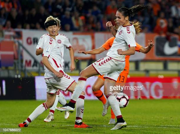 LR Janni Arnth of Denmark and Katrine Veje of Denmark during UEFA European Qualifying Play Off Women's World Cup between Nederland and Denmark at...