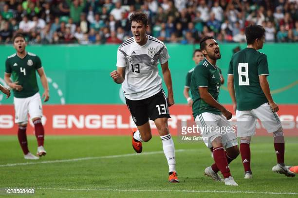 Janni Serra of Germany celebrates his team's first goal during the International Friendly match between Germany U21 and Mexico U21 at Sportpark...