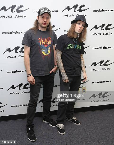 Jannie Wirman and Alexi Laiho of Rock Band Children Of Bodom visit at Music Choice on August 24 2015 in New York City