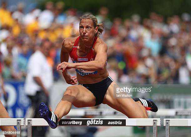 Jannifer Oeser of Germany in action in the Women's Heptathlon 100 metres hurdles during the Hypomeeting Gotzis 2016 at the Mosle Stadiom on May 28...