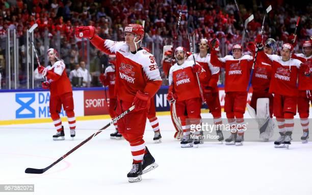 Jannik Hansen of Denmark celebrates after the 2018 IIHF Ice Hockey World Championship Group B game between Denmark and Norway at Jyske Bank Boxen on...