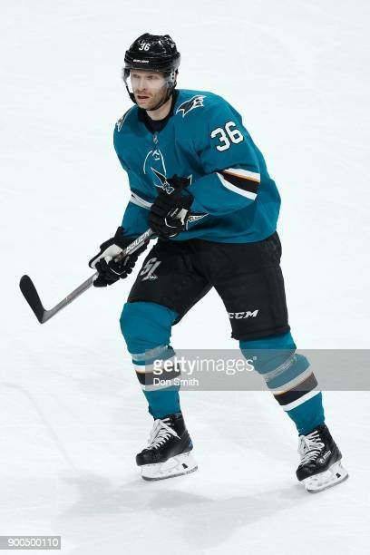 Jannik Hansen of the San Jose Sharks looks during a NHL game against the Calgary Flames at SAP Center on December 28 2017 in San Jose California