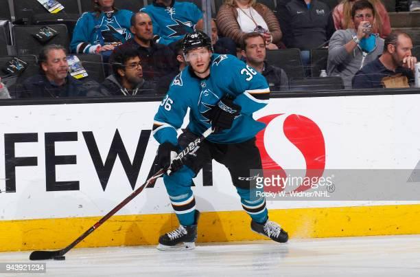 Jannik Hansen of the San Jose Sharks skates with the puck against the Colorado Avalanche at SAP Center on April 5 2018 in San Jose California Jannik...