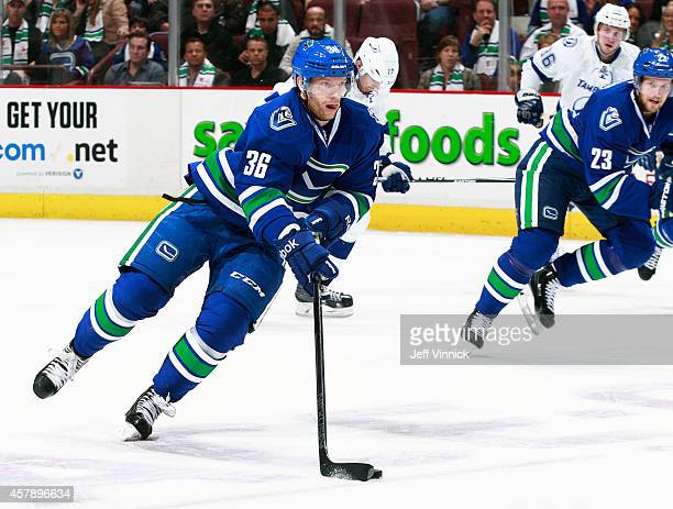 Jannik Hansen of the Vancouver Canucks skates up ice with the puck during their NHL game against theTampa Bay Lightning at Rogers Arena October 18...