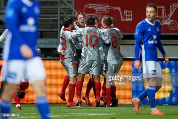 Jannik Pohl of AaB Aalborg celebrates after scoring their first goal during the Danish Alka Superliga match between Lyngby BK and AaB Aalborg at...