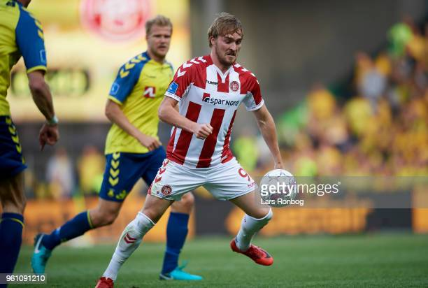 Jannik Pohl of AaB Aalborg in action during the Danish Alka Superliga match between Brondby IF and AaB Aalborg at Brondby Stadion on May 21 2018 in...