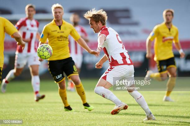 Jannik Pohl of AaB Aalborg in action during the Danish Superliga match between AC Horsens and AaB Aalborg at Casa Arena Horsens on August 20 2018 in...