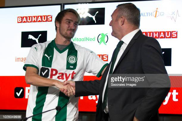 Jannik Pohl of FC Groningen Ron Jans of FC Groningen during the Contract Signing Jannik Pohl of FC Groningen at the NoordLease Stadium on August 29...