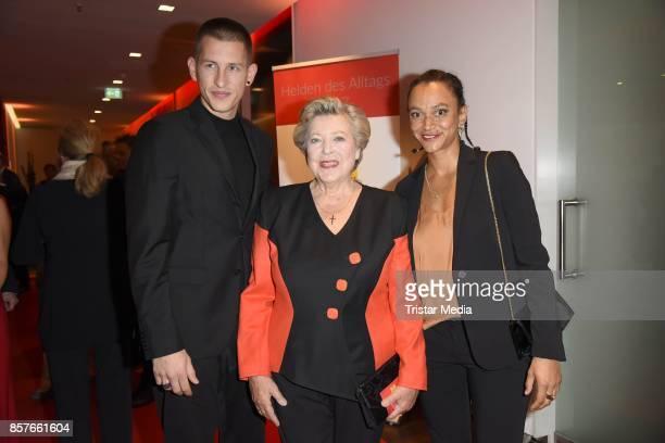 Jannik Scharmweber MarieLuise Marjan and Sarah Masuch of german TV series Lindenstrasse attend the 'Helden des Alltags' Gala at Theater Kehrwieder on...