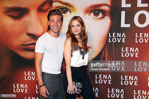 Jannik Schuemann and Emilia Schuele during the premiere for the film 'LenaLove' at Mathaeser Filmpalast on September 12 2016 in Munich Germany