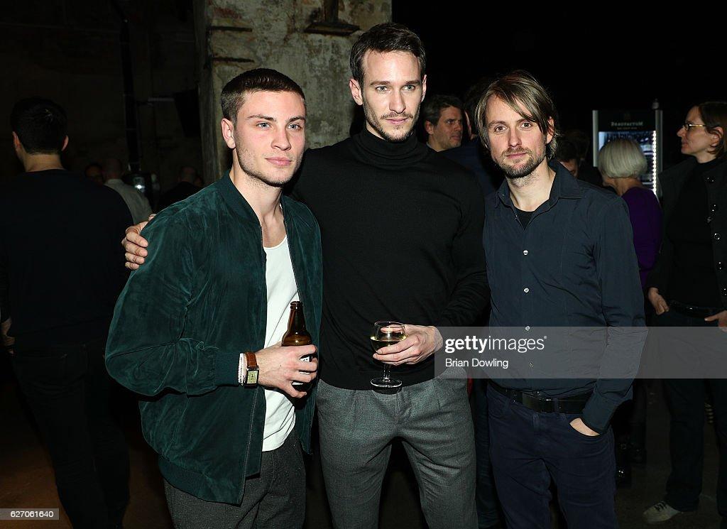 Jannik Schuemann, Vladimir Burlakovthe, and Axel Schreiber attend the Medienboard Pre-Christmas Party at Schwuz on December 1, 2016 in Berlin, Germany.