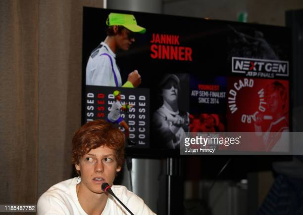 Jannik Sinner of Italy answers questions during previews before the NextGen ATP Finals at Allianz Cloud on November 04 2019 in Milan Italy